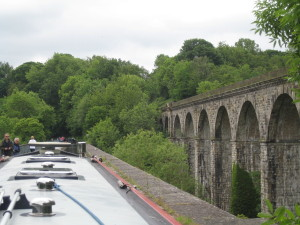 Chirk aqueduct with the viaduct to the right