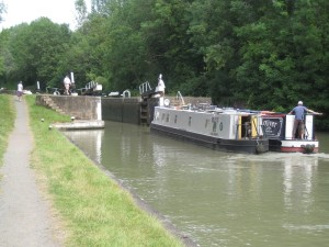 Toby taking both boats in to the lock