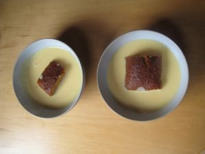 cake and custard for afternoon break. I'm sure you can guess which bowl belongs to me!